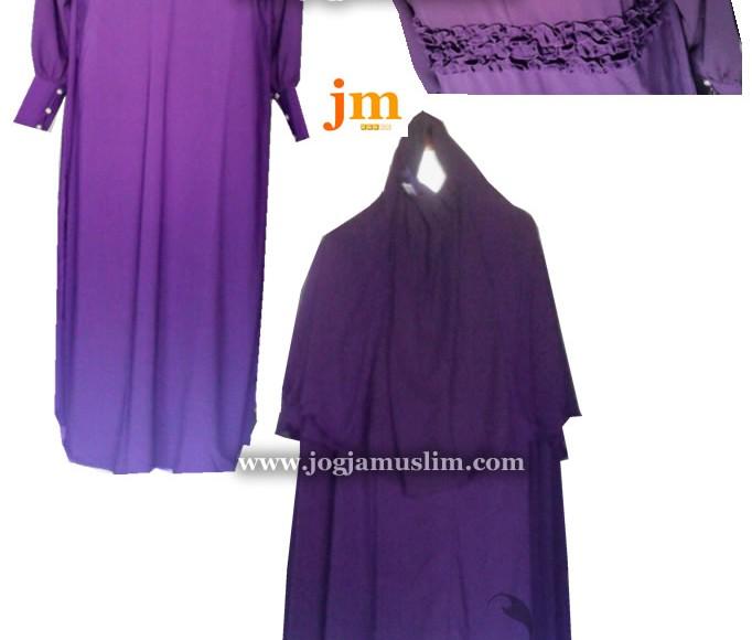 Setelan Jubah Akhwat Lingkar Bunga dengan Jilbab dan Cadar