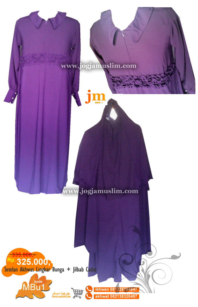 Jubah Akhwat Lingkar Bunga Jilbab + Cadar